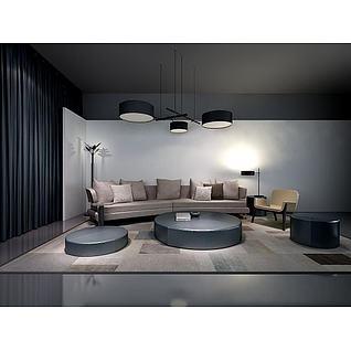 时尚简约沙发茶几组合3d模型