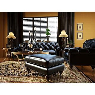 欧式皮质沙发茶几组合3d模型