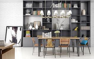 现代书房桌椅书架组合3d模型