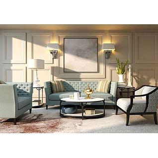 现代美式客厅沙发椅子组合3d模型