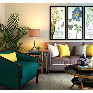 美式客厅沙发椅子茶几组合3d模型