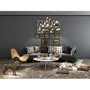 现代沙发座椅吊灯组合3d模型
