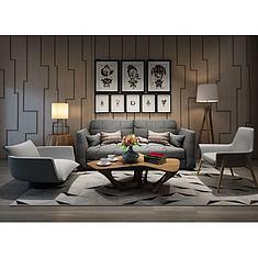现代个性茶几背景墙组合3D模型3d模型