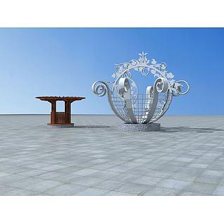 景观花篮花架3d模型