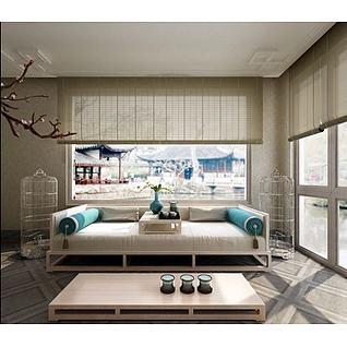 新中式沙发床榻茶几3d模型