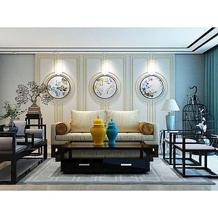 新中式植物盆景墙饰品组合3d模型