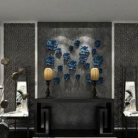 中式墙饰品椅子组合模型