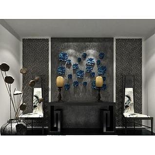 中式墙饰品椅子组合3d模型