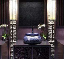 中式洗漱台柜子兰花摆件组合模型