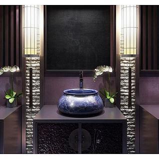 中式洗漱台柜子兰花摆件组合3d模型