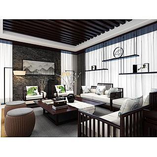 中式客厅沙发茶几组合3d模型