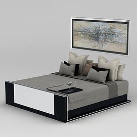 卧室双人床墙壁挂画组合3d模型