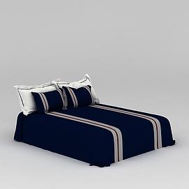 深蓝色床具3d模型