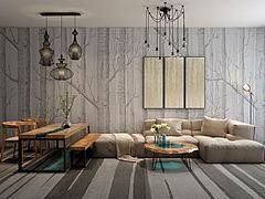 布艺转角沙发茶几餐桌椅组合模型3d模型