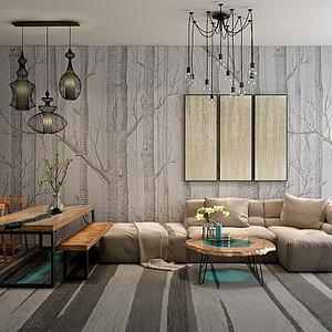 3d?#23478;?font class='myIsRed'>转角沙发</font>茶几餐桌椅组合模型