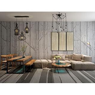 布艺转角沙发茶几餐桌椅组合3d模型