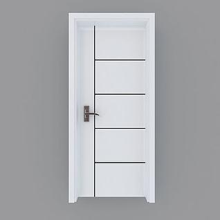 现代简约白色木门3d模型