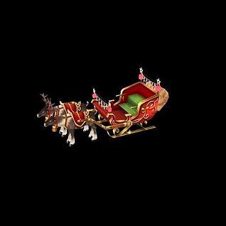 圣诞老人的麋鹿3d模型