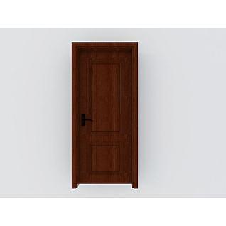 红色室内木门3d模型