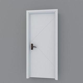白色简约木门3d模型