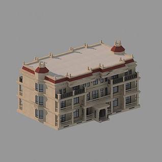 简约3层别墅3d模型