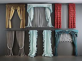欧式田园窗帘纱帘组合模型
