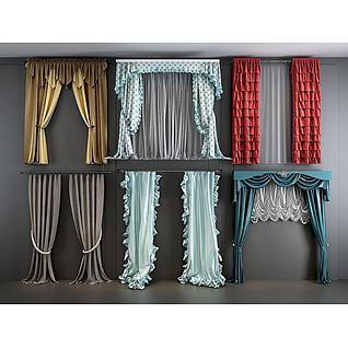欧式田园窗帘纱帘组合3d模型