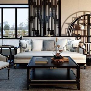 新中式客廳沙發椅子博古架組合模型3d模型
