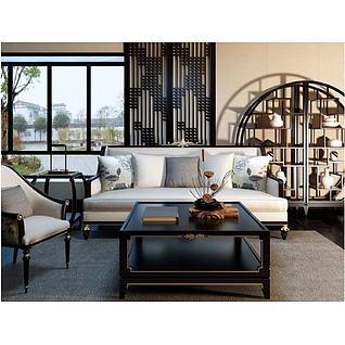 新中式客厅沙发椅子博古架组合3d模型