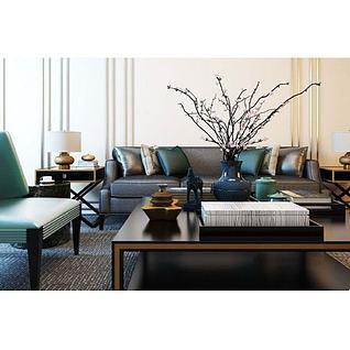新中式客厅沙发椅子组合3d模型