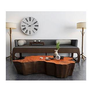 新中式沙发创意茶几组合3d模型