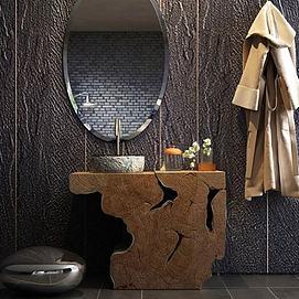 高档浴室洗手台盆浴袍组合模型