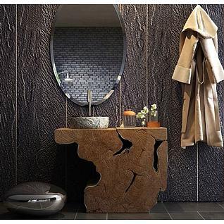高档浴室洗手台盆浴袍组合3d模型