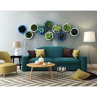 北欧沙发茶几植物盆栽墙组合3d模型