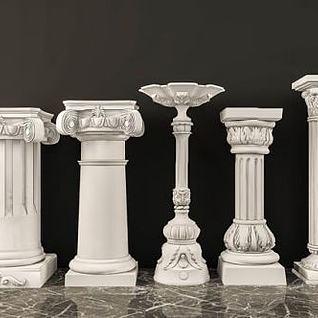 罗马石膏柱子组合3d模型