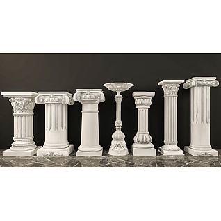 罗马石膏柱子组合3d模型3d模型