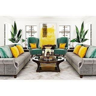 美式客厅沙发茶几组合3d模型