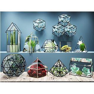 多肉植物几何玻璃花房3d模型