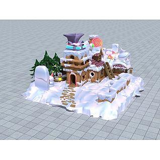 雪地糖果屋3d模型