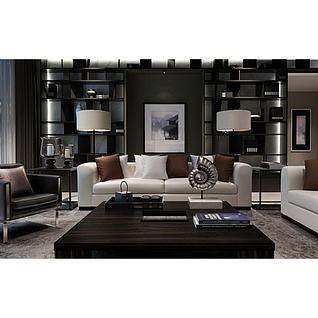 复古台灯简约沙发组合3d模型