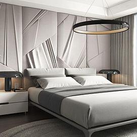 简约卧室大床床头柜组合模型