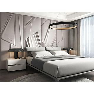 简约卧室大床床头柜组合3d模型