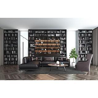 休闲真皮拐角沙发大型书架组合3d模型