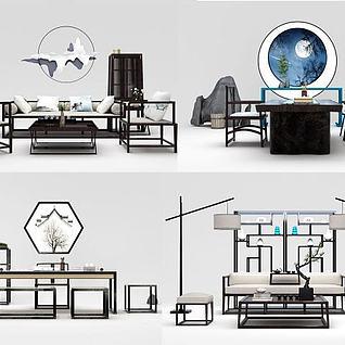 新中式沙发榻茶几桌椅组合3d模型