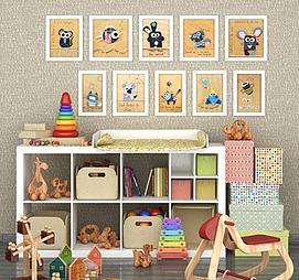 儿童房玩具柜木马摇椅组合模型