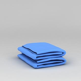 蓝色毛巾3d模型