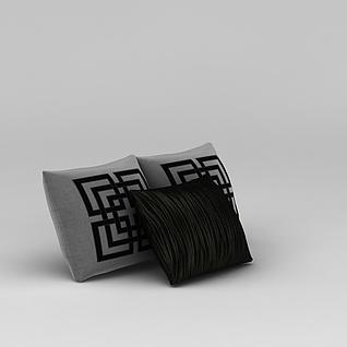 中式枕头抱枕3d模型