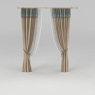 室内双层窗帘3d模型
