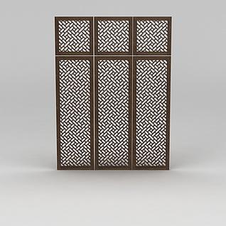 中式镂空木窗3d模型