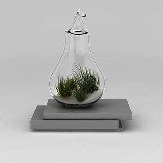 玻璃花瓶绿植3d模型
